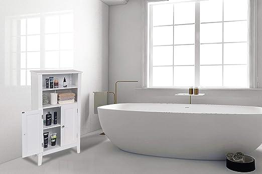 eSituro Armario de Suelo para Baño Auxiliar Pequeño Mueble de Baño ...