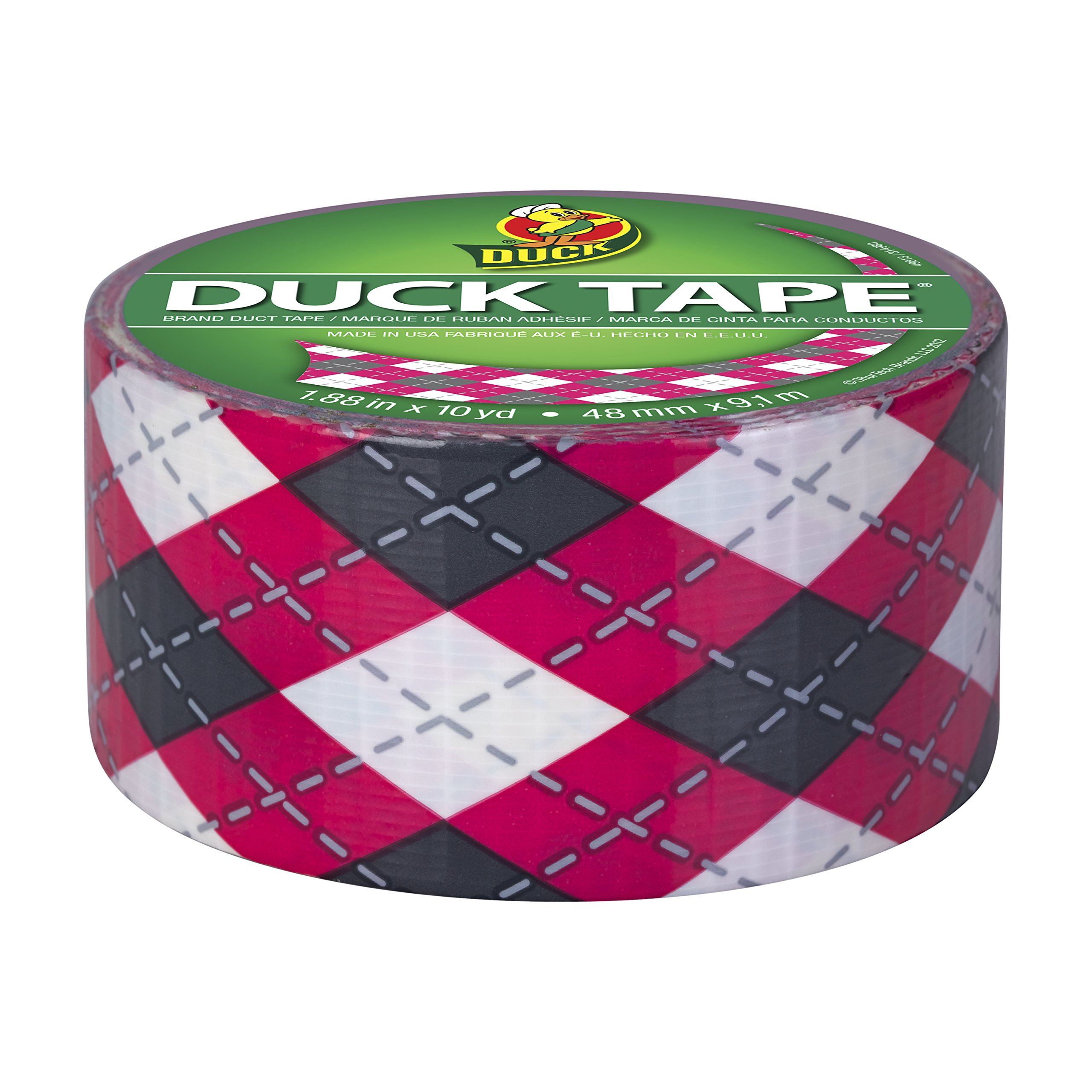 Duck Brand 280977 Printed Duct Tape, Pink Argyle, 1.88 Inches x 10 Yards, Single Roll by Duck (Image #3)