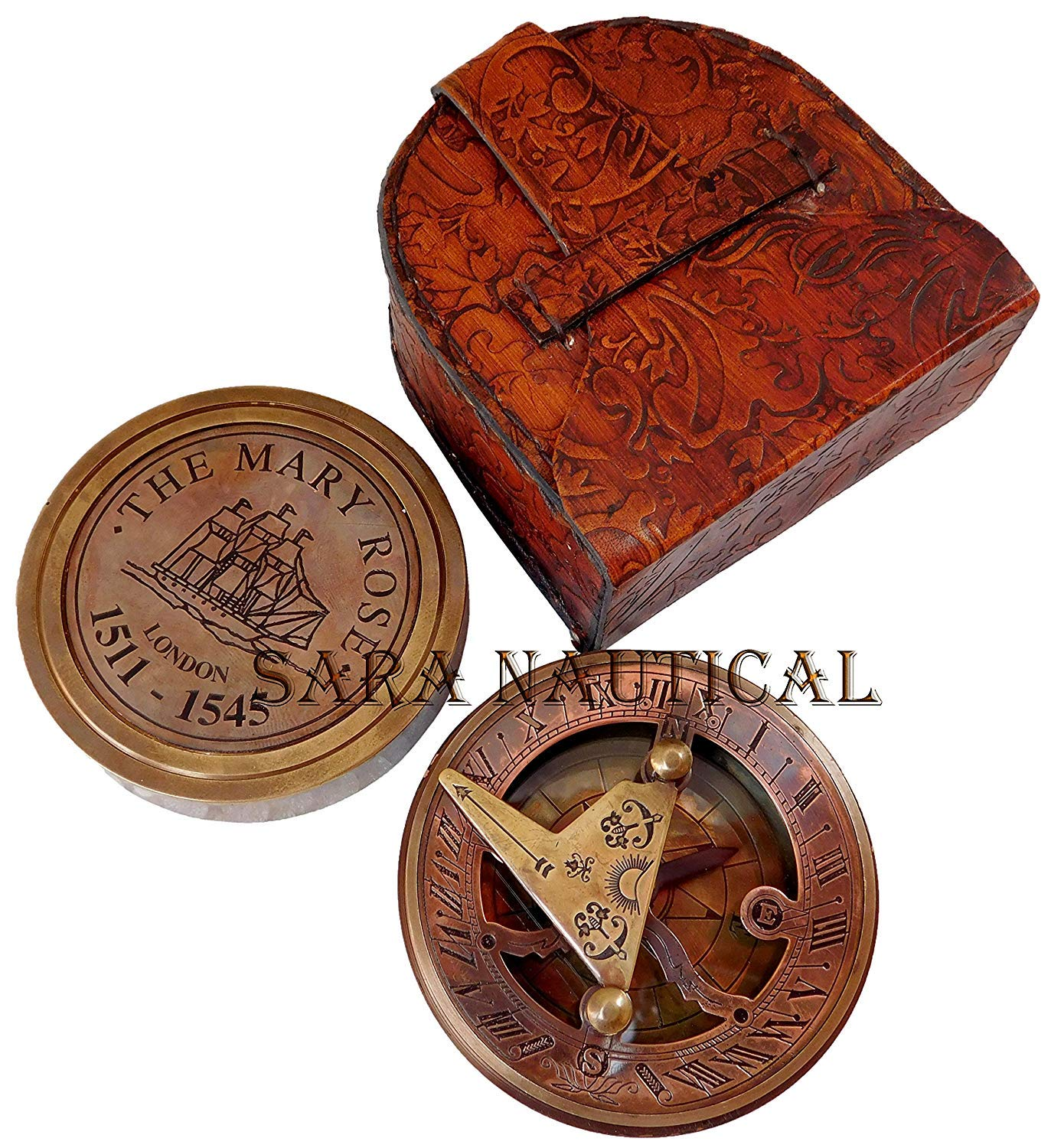 Sara Nautical Steampunk for Solid Brass Compass in Fitted Leather Box. C-3052
