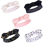 Yoga Sprout Baby Girls' Cotton Headbands, Metallic Moon 5Pk, 0-24 Months