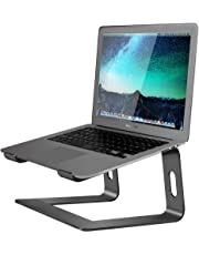 "Aluminum Laptop Stand for Desk Compatible with Mac MacBook Pro/Air Apple 12"" 13"" Notebook, Portable Holder Ergonomic Elevator Metal Riser for 10 to 15.6 inch PC Desktop Computer, Soundance LS1 Black"