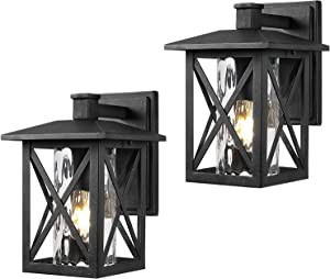 Beionxii Outdoor Wall Sconces | Twin-Pack Exterior Porch Light Fixtures, Sand Textured Black with Water Rippled Glass - A330W-2PK
