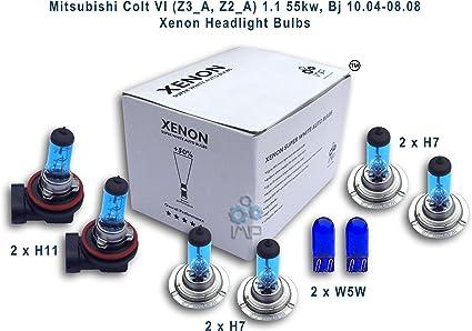 Efecto Xenón Coche Faros Bombillas H11, H7, H7, W5 W, pack de 4 unidades: Amazon.es: Coche y moto