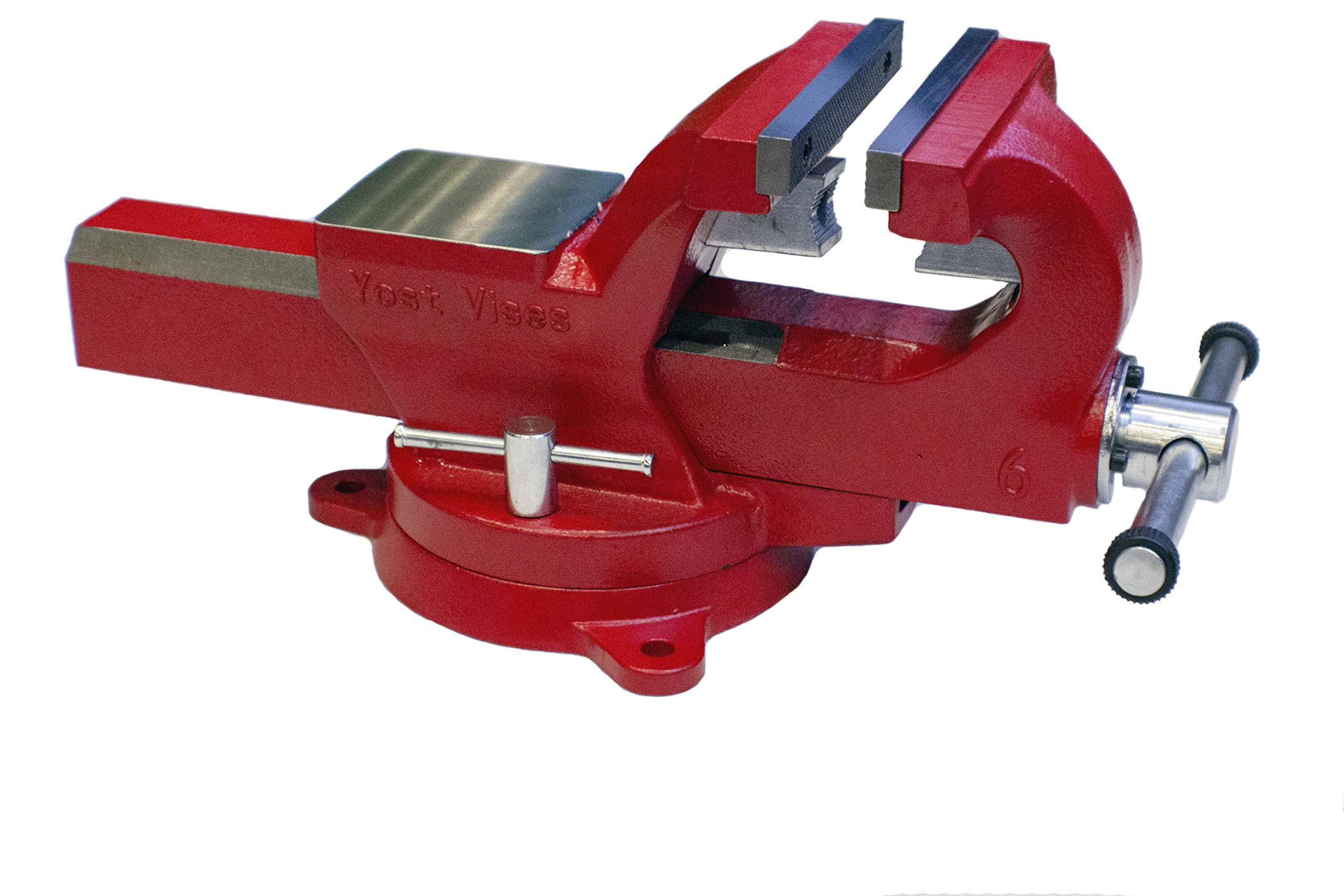 Yost Vises ADI-8, 8 Inch 130,000 PSI Austempered Ductile Iron Bench Vise with 360-Degree Swivel Base superseding Yost FSV-7