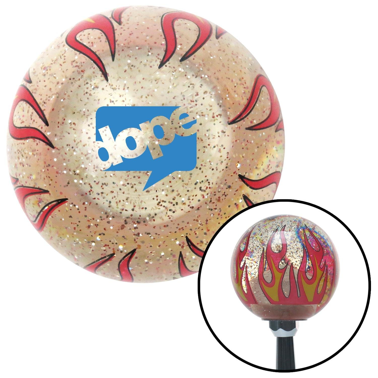 Blue Dope Bubble Clear Flame Metal Flake with M16 x 1.5 Insert American Shifter 296190 Shift Knob