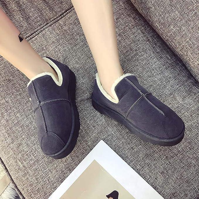 ❤ Zapatillas de algodón para Mujer de Color Puro, Botas de Nieve de Felpa Pan de Estudiante Invierno cálido en los Zapatos Welvet Absolute: Amazon.es: ...