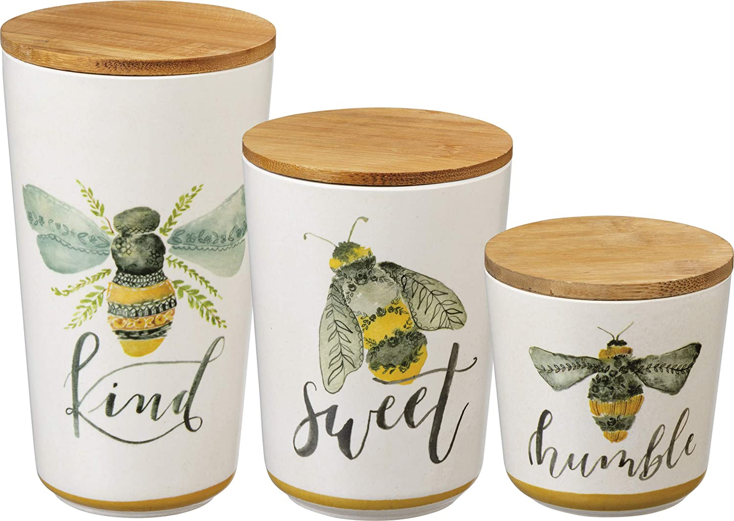 Primitives by Kathy Kitchen Canisters, Set of 3, Bees - Kind, Sweet, Humble
