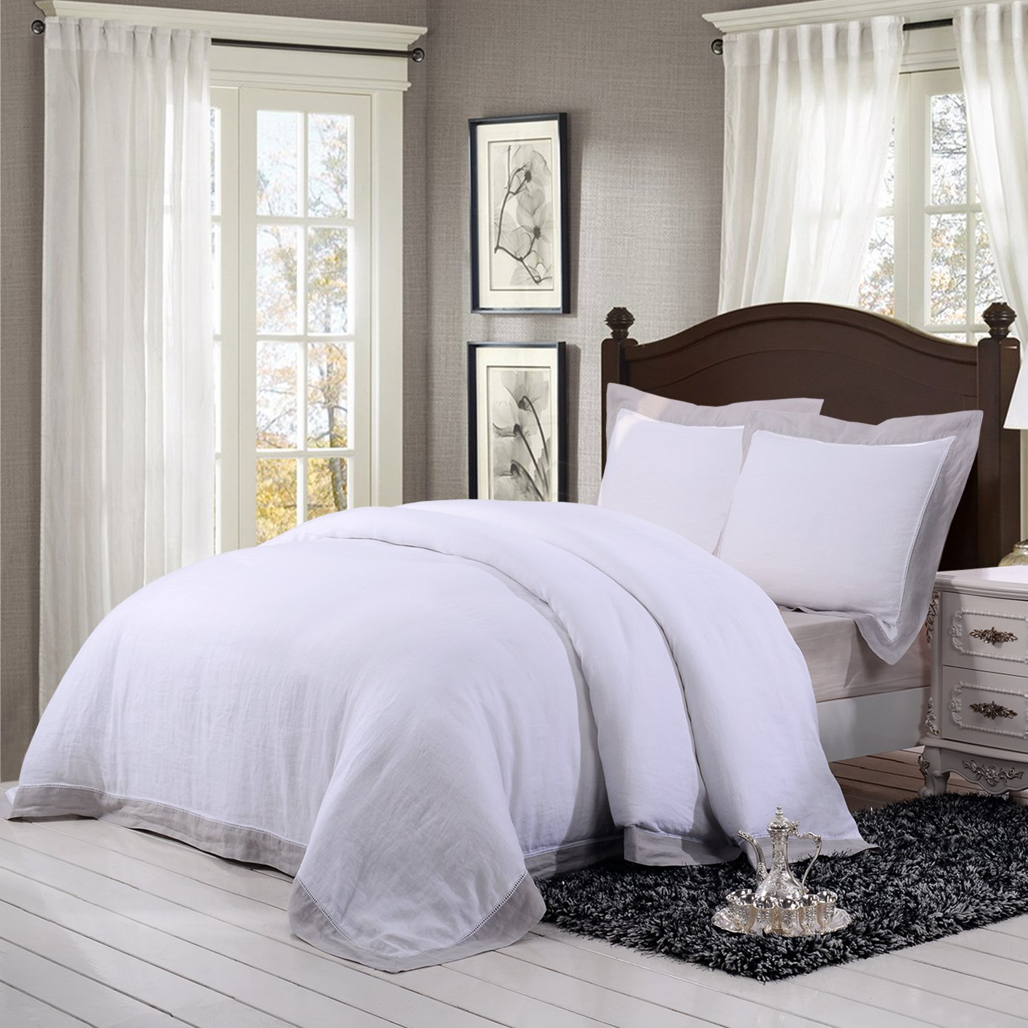 Simple&Opulence 100% Linen Stone Washed 3pcs Solid Pure Color Hemstitch Lace Duvet Cover Set (King, Grey Border)