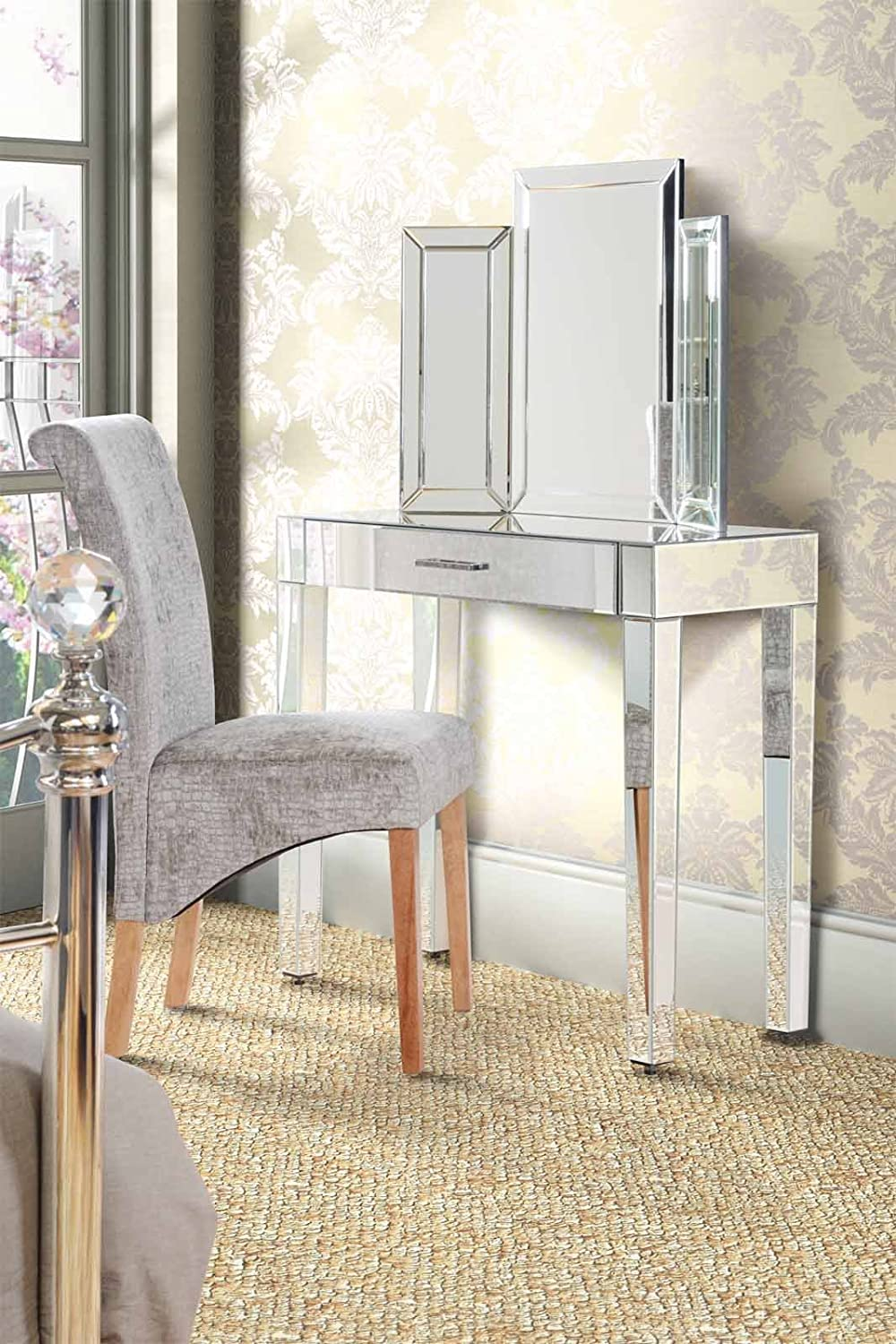 Glass dressing table - My Furniture Luxury Mirrored Dressing Console Table Zoe