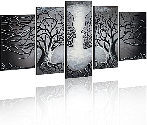 FLY SPRAY Gray Oil Paintings Canvas Wall Art Modern Abstract Modern Creative 5-Piece Artwork Framed Lover Couple Kiss Human Tree Living Room Bedroom Office Home Decor