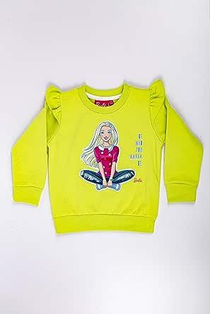 Barbie Girls Long Sleeve Sweater, Lime Green HWGLJS22