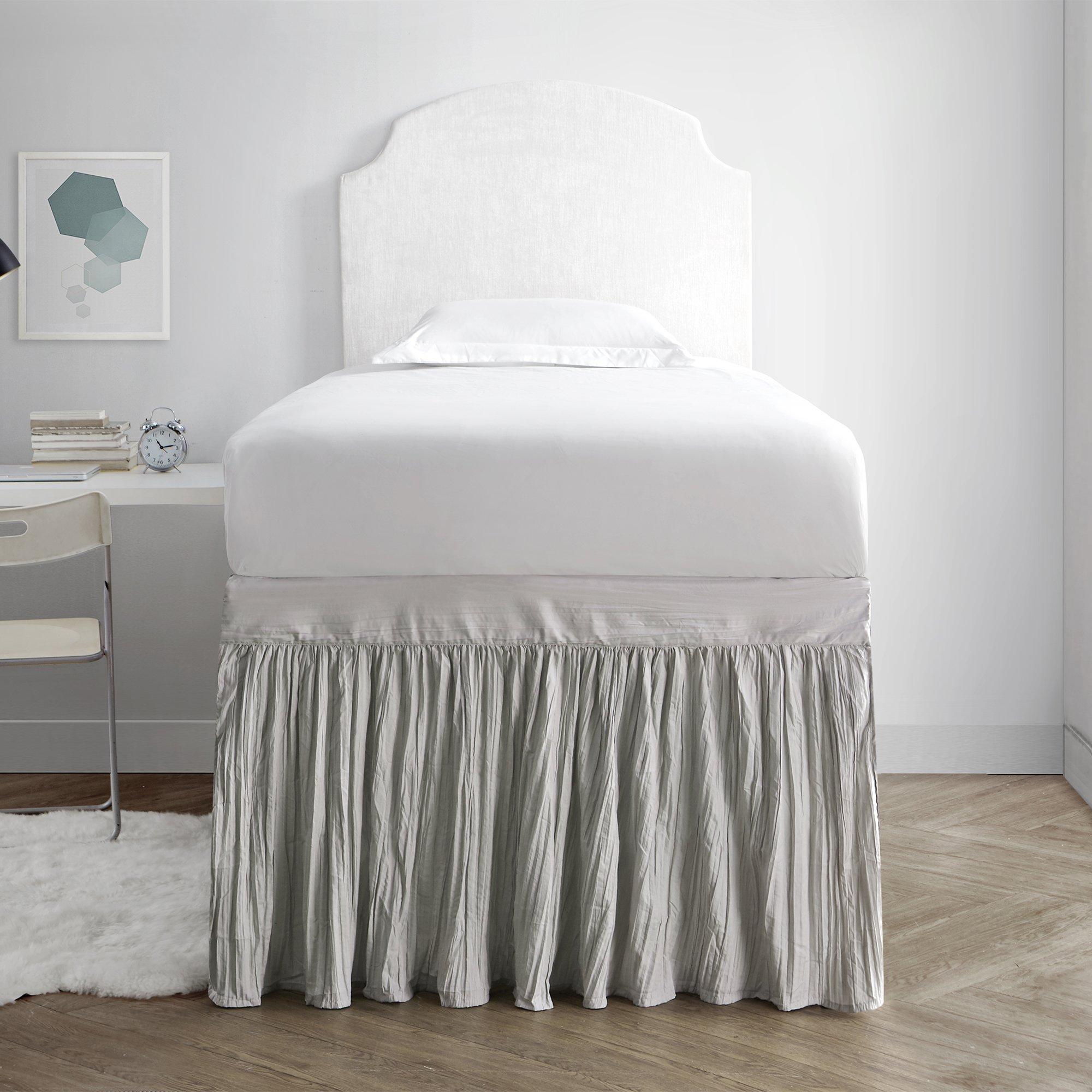 DormCo Crinkle Bed Skirt Twin XL (3 Panel Set) - Silver Birch
