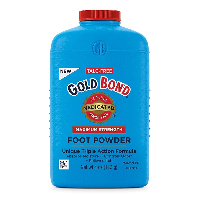 Gold Bond Medicated Talc-Free Foot Powder 4 oz, Maximum Strength Odor Control & Itch Relief