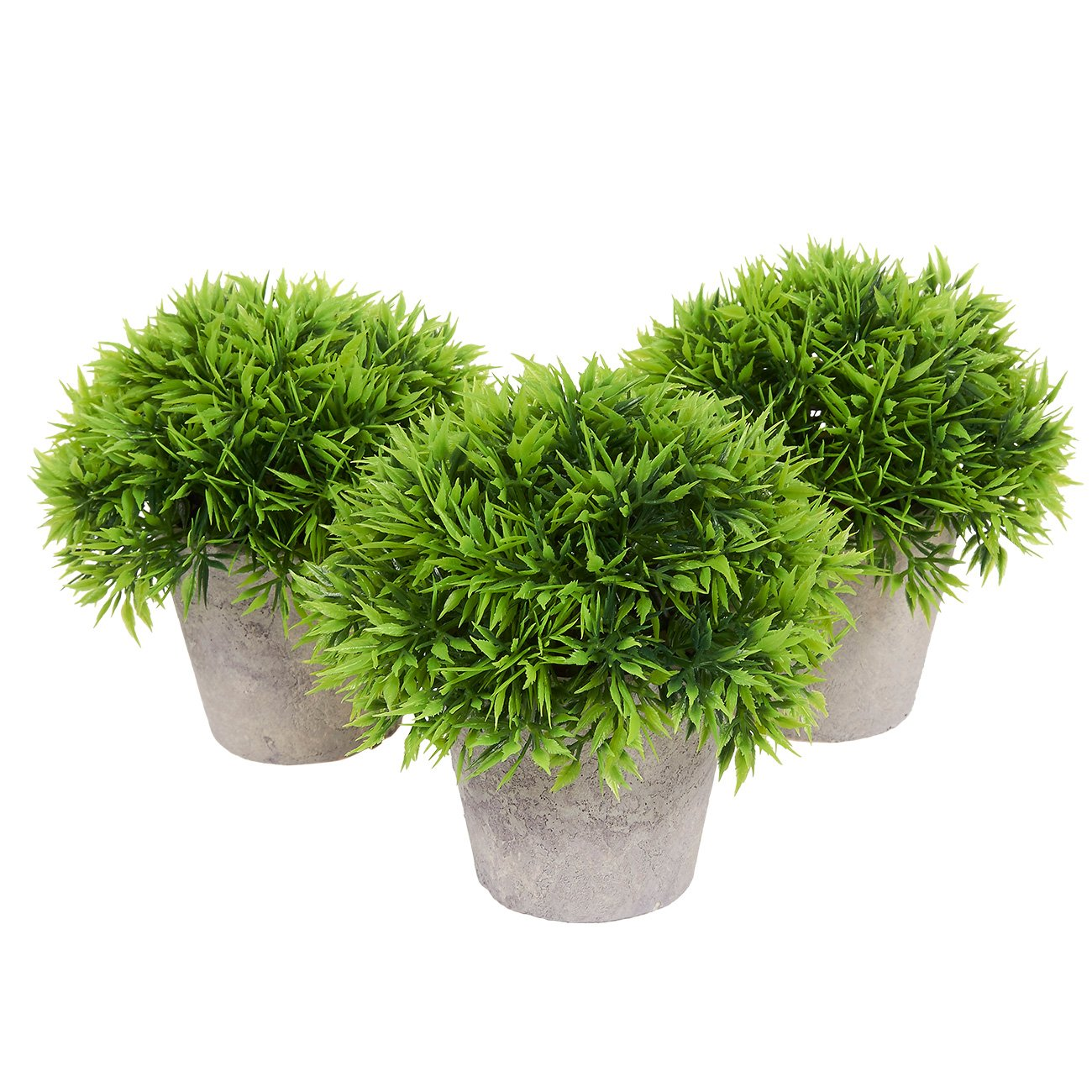 Fake Plant Decoration - Set of 3 Potted Artificial House Plants - Fake Plant Decor, Green Decorative Small Artificial Plants, for Home DecorIndoor, with White Paper Pulp Pots - 5 x 4.2 x 5 Inches Juvale