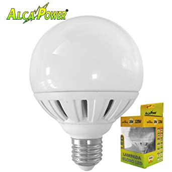 ALCAPOWER - Bombilla LED E27 18 W=120 W, diámetro 95 mm, luz