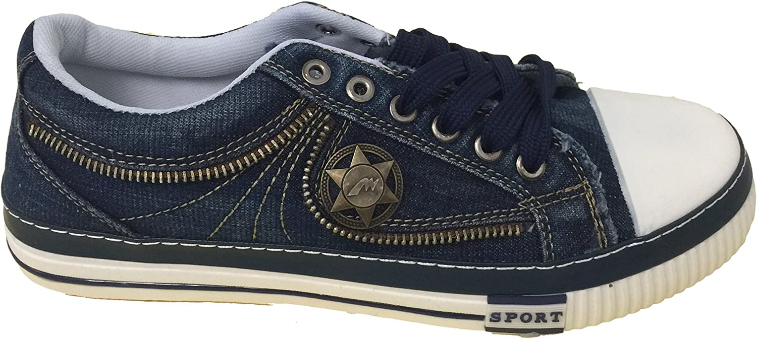 Navy Black JM-6696 Mens Denim Sneakers Lace up Casual Jeans Canvas Shoes Fashion Urban Stone-Washed