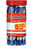 Cello Technotip Ball Pen Jar - 20 Pens with 5 free Refills (Blue)