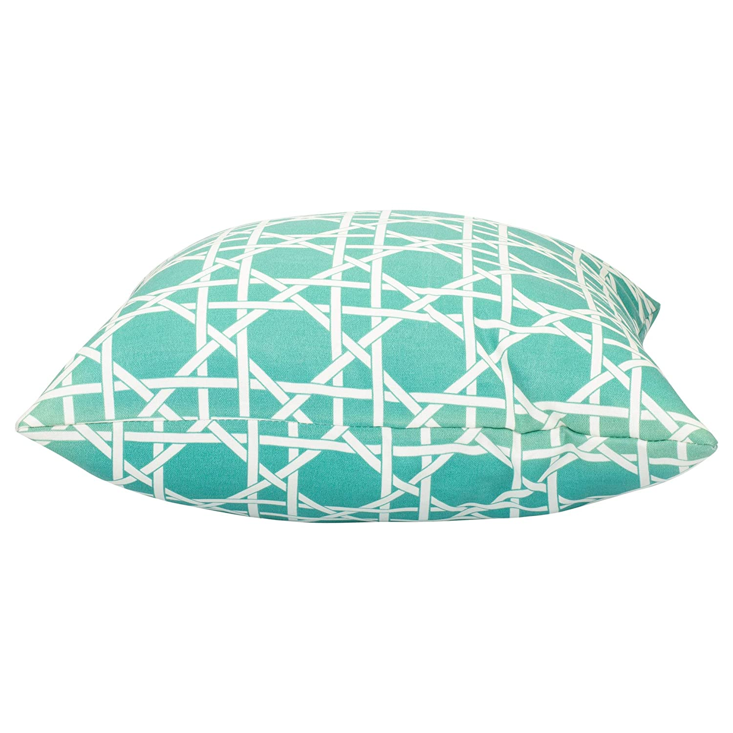 Kane Teal Blue and Beige Weave Print 16 x 16 Indoor Outdoor Throw Pillow