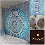 """Exclusive Branded Blue Ombre Tapestry By """"RAWYAL"""", Indian Mandala Wall Art, Hippie Wall Hanging, Bohemian Bedspread"""