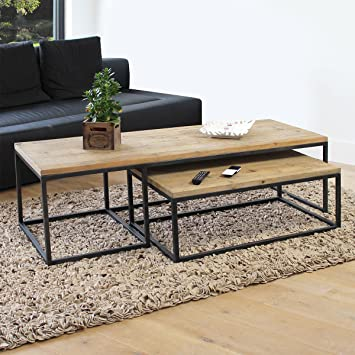 MadeinMeuble Table basse industrielle gigogne | OP40-set: Amazon.fr ...