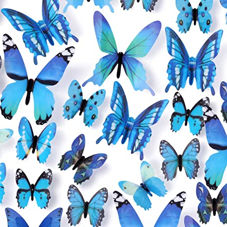 Butterfly Wall Decals 24 Pcs 3D Butterfly Removable Mural Stickers Wall Stickers Decal Wall Decor for Home and Room Decoration Blue