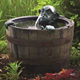 Aquascape 78016 Poly-Resin Spitter for Pond, Landscape, Garden, and Water Features, Man in Barrel