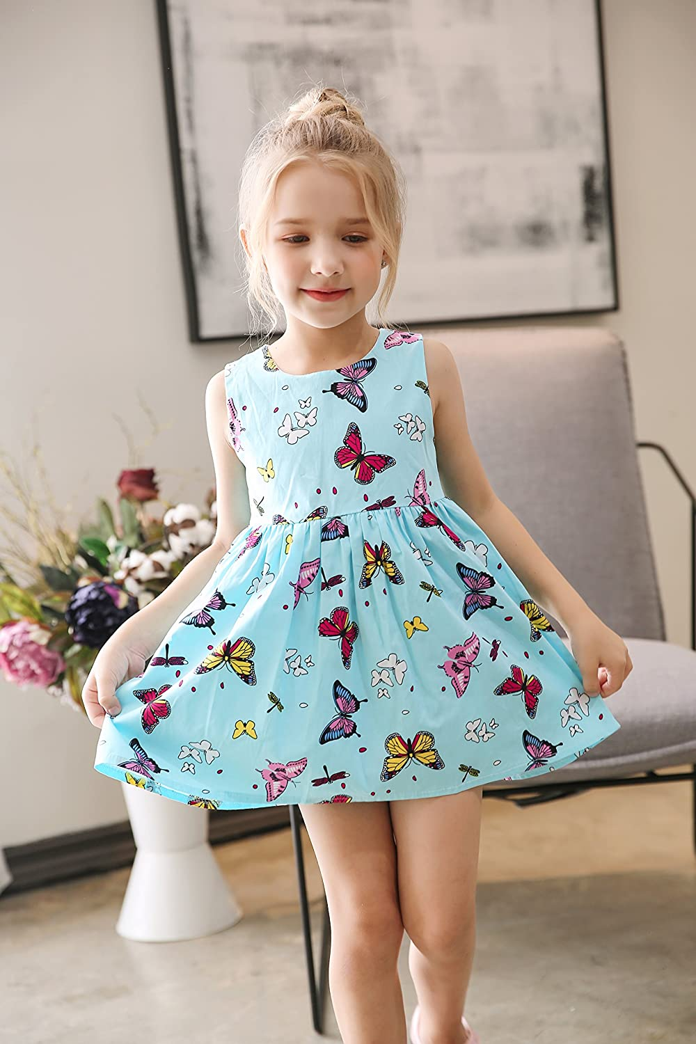 Girls Age 1-7 Butterfly Casual Toddler Yellow Pink Dress Cartoon Outfits