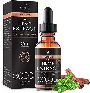 (2-Pack) Raw Hemp Oil - 3000MG - Cinnamint Flavor - Enhanced Efficacy, Made in USA - Rich in Omega 3-6-9 Fatty Acids, Kosher, Non-GMO. White Cedar Naturals