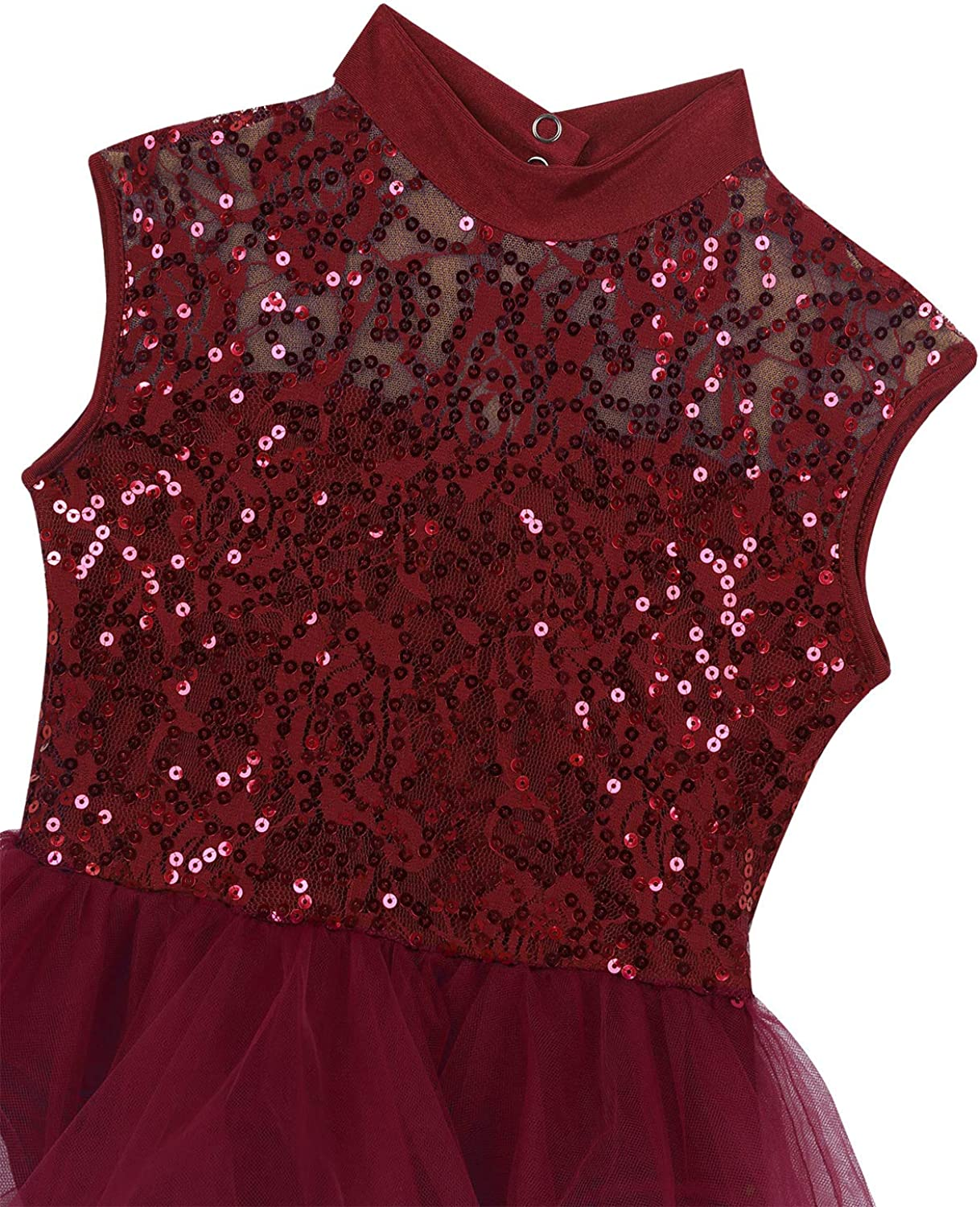 TiaoBug Girls Sequined Camisole Gym Ballet Dance Tutu Dress Sweetheart Ballerina Leotard Skirted Dancewear Costumes