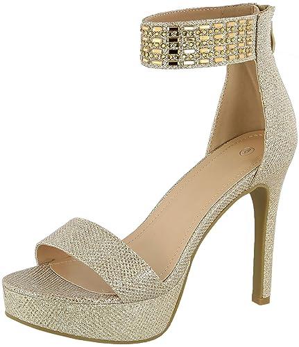712c0eb54e97 ... Women s Open Toe Single Band Ankle Strap Crystal Rhinestone Chunky  Platform Stiletto High Heel Sandal