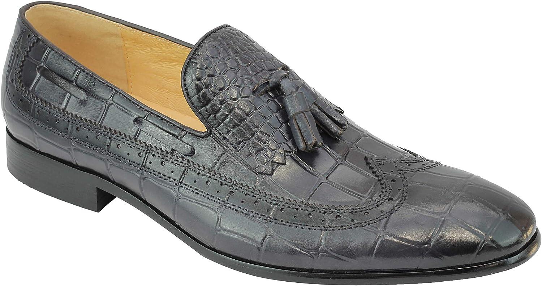Hombres del Cuero Genuino de Pulido cocodrilo impresión Vestido Elegante de la Borla de Zapatos de los Holgazanes