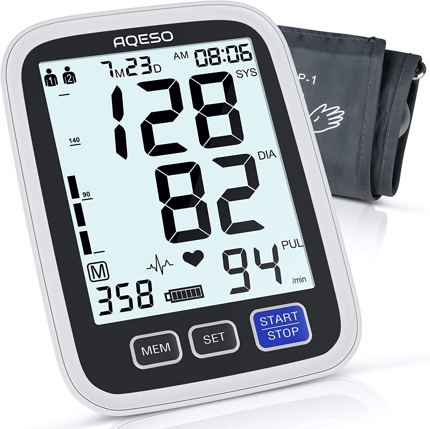 Blood Pressure Monitor Upper Arm - AQESO Automatic Digital BP Machine for Home Use, Large Cuff 9-17 in, Pulse Rate Meter, Clinically Accurate & Fast Reading, 2x500 Memory, Large Display w/Backlit