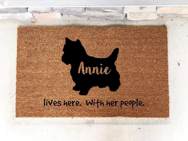 Personalized Yorkie Yorkshire terrier Custom Door Mat Dog 18 X 30 Indoor Outdoor Coir Rug
