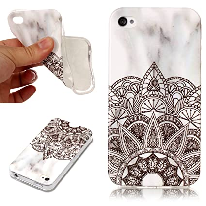 buy popular f69dd 2f03d KANTAS Silicone Marble Case for iPhone 4S iPhone 4 Cover Black Mandala  Flower Design Rubber Gel Protective TPU Bumper Ultra Slim Fit Simple for  Apple ...