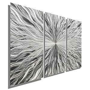 """Statements2000 Silver Modern Metal Wall Art Sculpture by Jon Allen - Multi Panel Tryptych Home Décor, Vortex 3P, 38"""" x 24"""""""