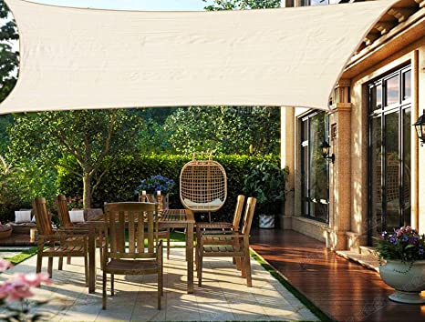HENG FENG Toldo Vela de Sombra Rectangular 2 x 3 m Protección Rayos UV Solar Protección HDPE Transpirable ...