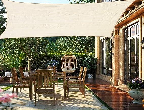 HENG FENG Toldo Vela de Sombra Rectangular 2 x 3 m Protección Rayos UV Solar Protección HDPE Transpirable Aislamiento de Calor para Dar Sombra a su Jardín Color Beige: Amazon.es: Jardín