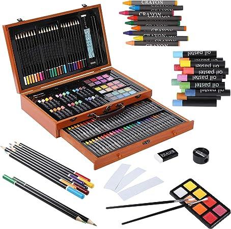 Pedy - 142 pcs Juego de pinturas para niños, maletín de madera, caja de pinturas, lápices de