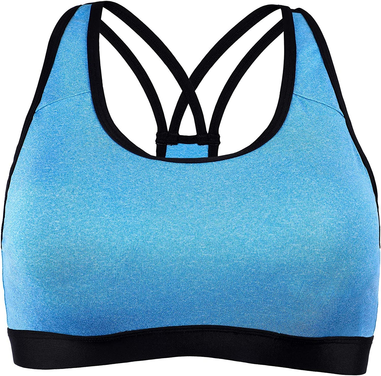 ACSUSS Women Removable Pads Sports Bra Cross Mesh Splice Support Workout Yoga Bra