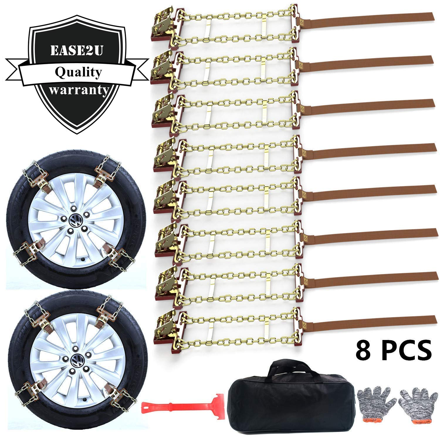 Ease2U Tire Chains, Snow Chains for suvs, Cars, Sedan, Family Automobiles,Trucks with Update Adjustable Lock for Ice, Snow,Mud,Sand,Applicable Tire Width 205-275mm/8.07-10.8in(8 Pack) Ease2U Direct EUTC2813