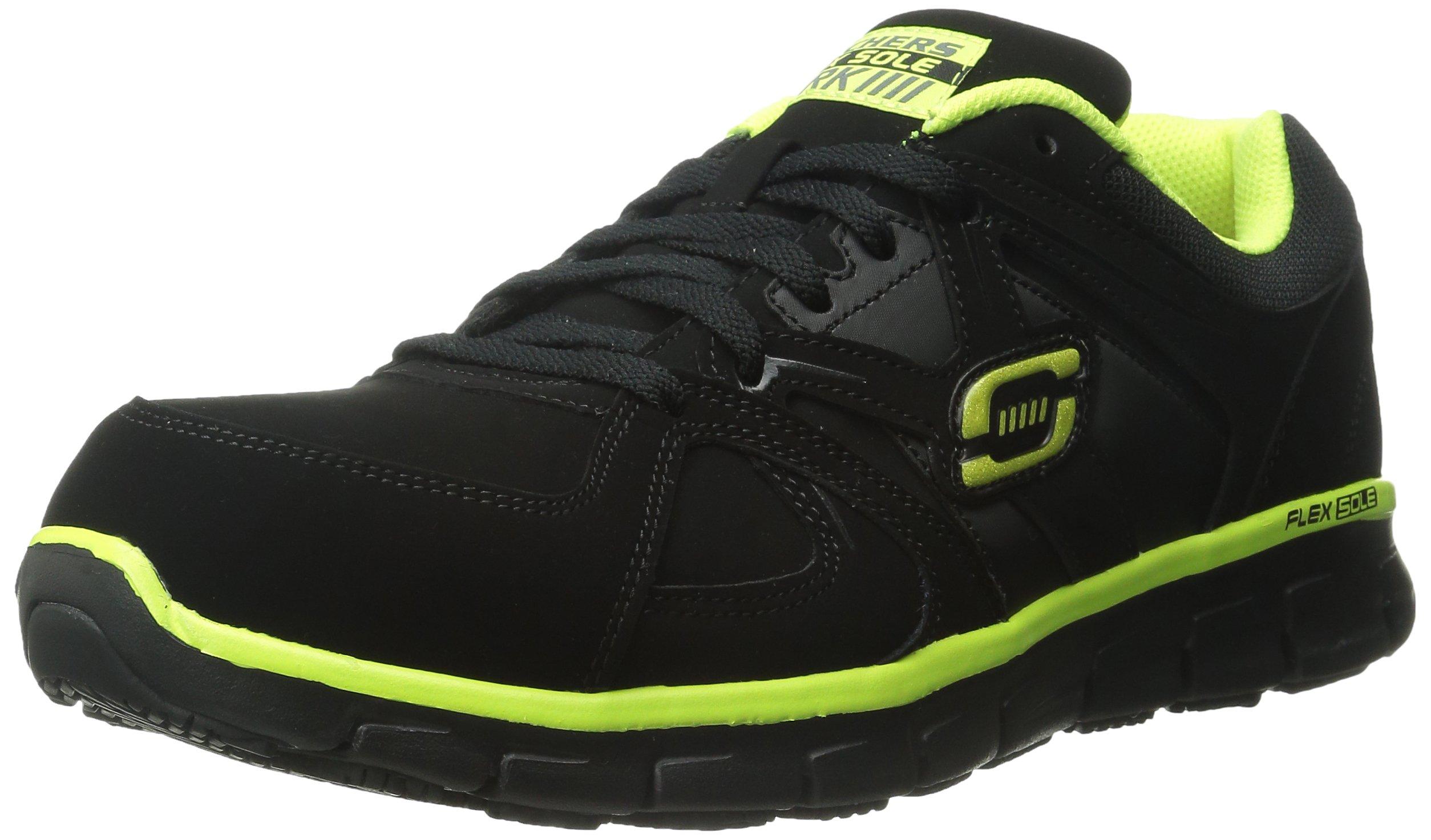 Skechers for Work Men's Synergy Ekron Walking Shoe,Black/Lime,11 M US
