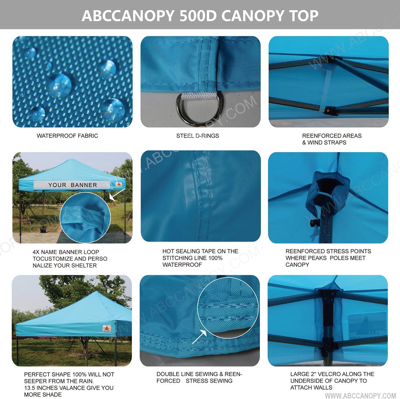 Wheel bag sky blue ABCCANOPY Patio 2.5x2.5 Gazebo Fully Waterproof Heavy Duty Pop Up Gazebo with 4pcs walls