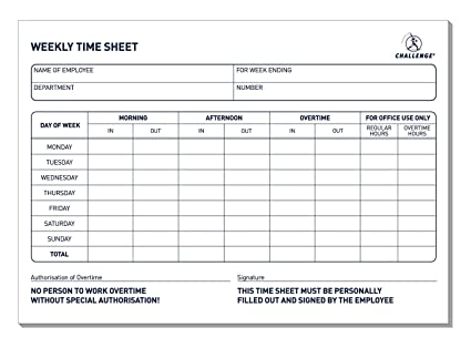 Challenge Weekly Time Sheet Pad (Pack Of 2): Amazon.Co.Uk: Office