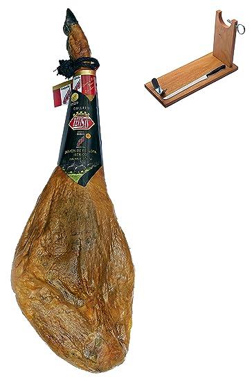 Jamón ibérico de Bellota 75% ibérico DO entero + jamonero + cuchillo 7-8 Kg