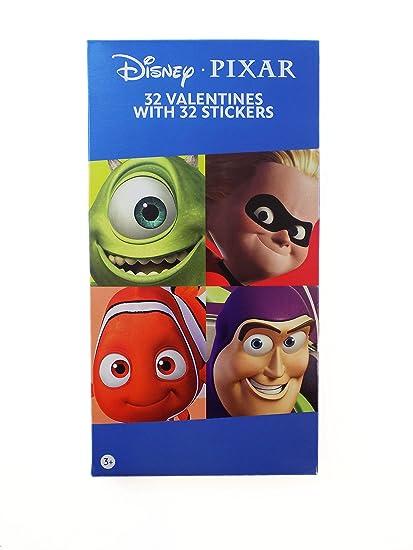 Amazon Com 32 Disney Pixar Movie Valentine Day Sharing Cards With