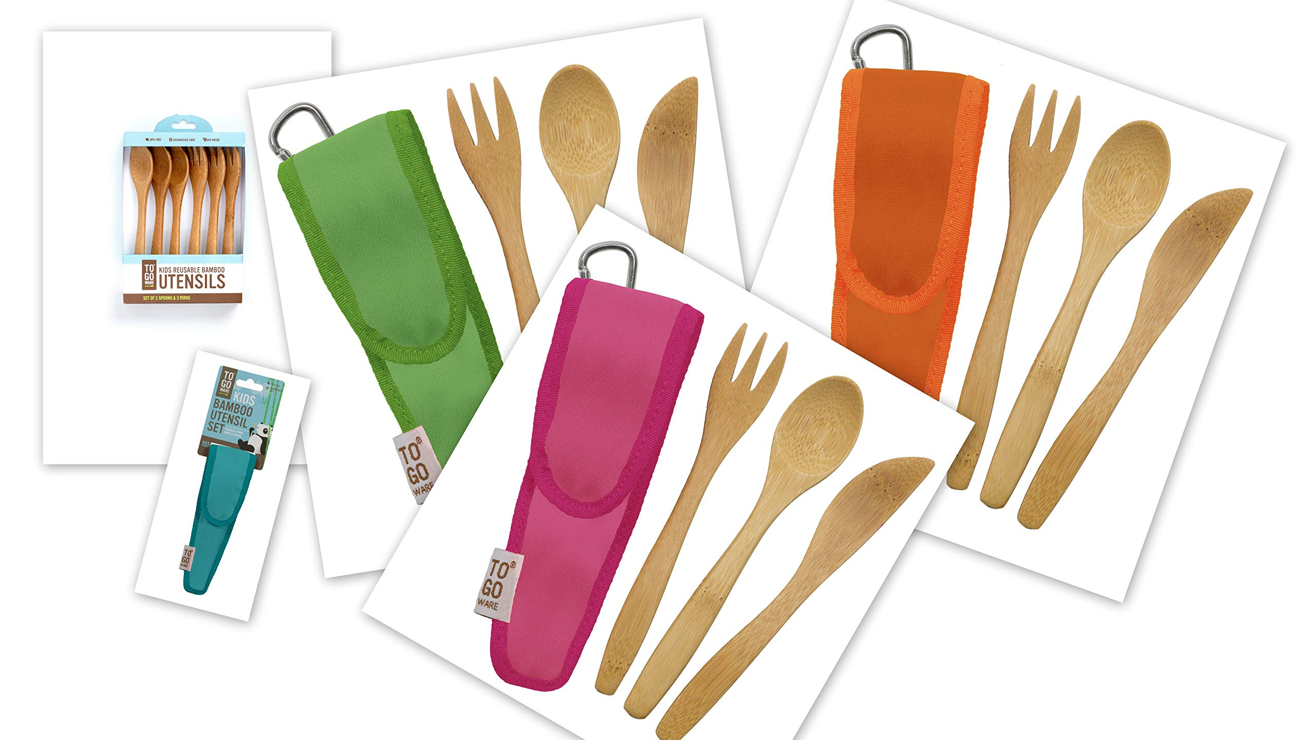 To-Go Ware Bamboo Utensils for Kids Fork Spoon Knife Set in Holder with Carabiner Multi-Pack of 4 in Different Colors