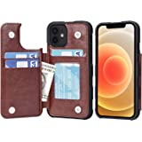 Arae Compatible with iPhone 12 Case and iPhone 12 Pro Case - Wallet Case with PU Leather Card Pockets Back Flip Cover for iPh