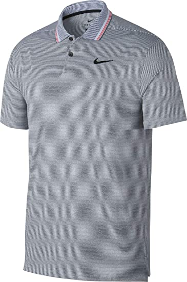 a22d56fc07 Nike Men's Dry Fit Vapor Control Golf Polo with Stripes (Black/Pure, Medium