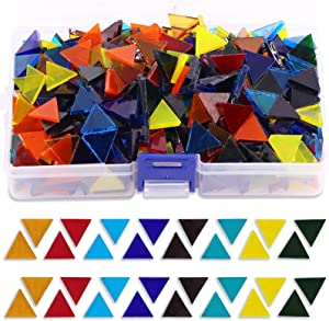 Rustark 450g Bulk Mosaic Glass Assorted Colorful Color Stained Transparent Mosaic Tiles Pieces with Storage Case for DIY Crafts and Home Decoration (Triangle)