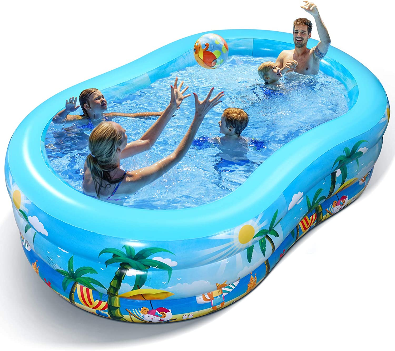 """Inflatable Swimming Pool - 95"""" x 59"""" x 24""""Full-Sized Family Lounge Pools for Kids & Adults, Kids Pool Blow Up Swim Center for Outdoor, Garden, Backyard, Summer Water Party - Inflatable Kiddie Pools"""